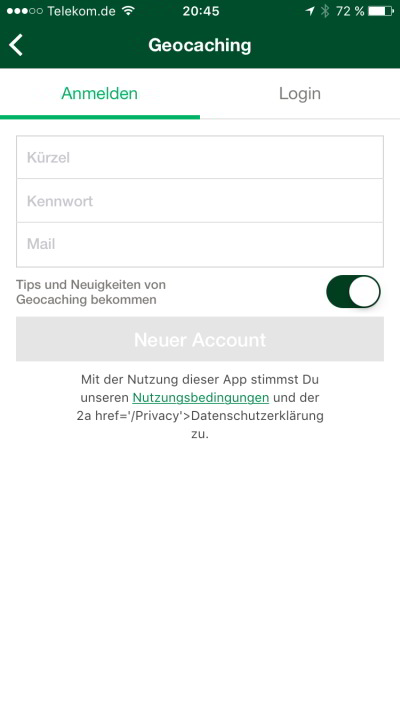 geocaching app tutorial start anmeldung