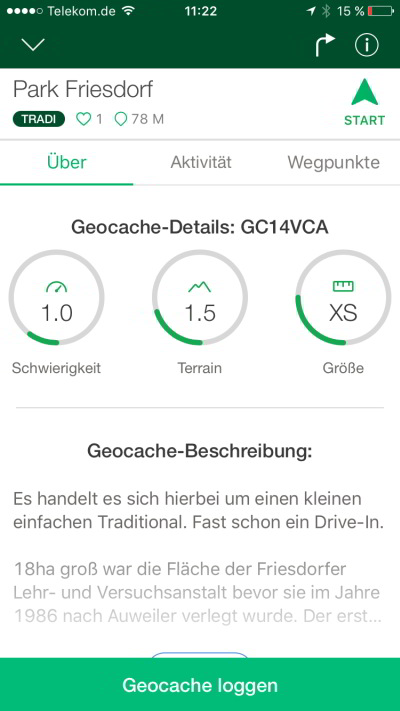 geocaching app tutorial jeckyl Cacheinformationen